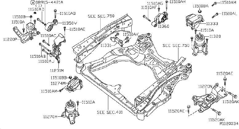 Nissan Altima Insulator Engine Mounting   Rear   Cvt