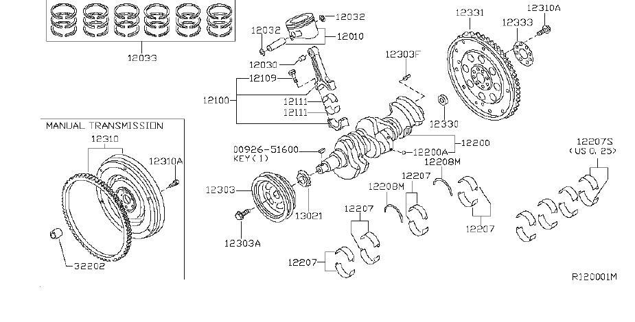 Nissan Xterra Engine Crankshaft Main Bearing  Grade