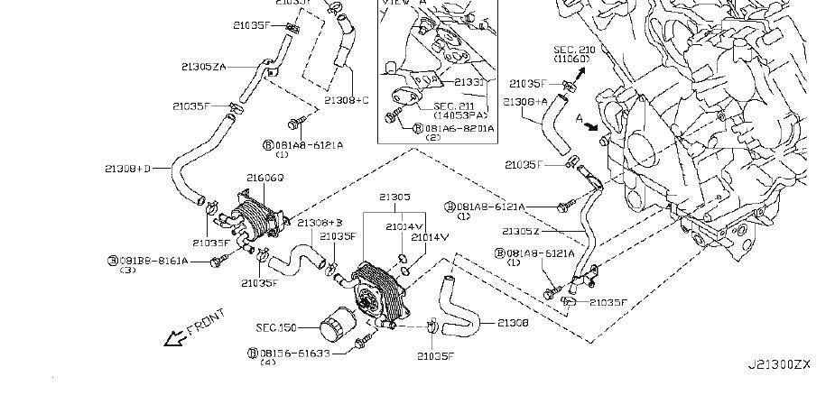 Nissan Armada Gasket Connector  Oil  Cooler  Lwb